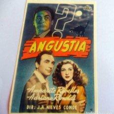 Cine: PROGRAMA DE CINE - ANGUSTIA - CINE CERVANTES (1950). Lote 214379751