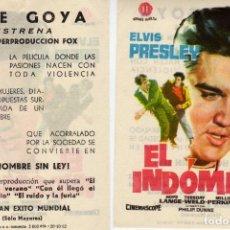 Cine: FOLLETO DE MANO EL INDOMITO, ELVIS PRESLEY. CINE GOYA ZARAGOZA. Lote 214606836