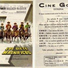 Cine: FOLLETO DE MANO LOS SIETE MAGNIFICOS. CINE GOYA ZARAGOZA. Lote 263100480