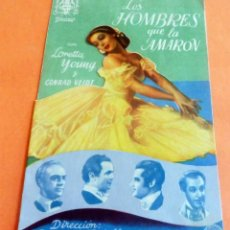 Cine: PROGRAMA DE CINE - DOBLE - LOS HOMBRES QUE LA AMARON - S/P. Lote 214666047