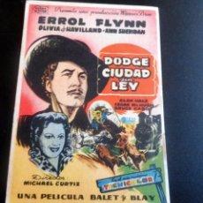 Flyers Publicitaires de films Anciens: PROGRAMA DE CINE - DUDGE CIUDAD SIN LEY - CINE ALKAZAR. Lote 215036816