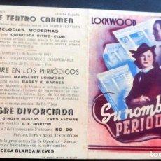 Foglietti di film di film antichi di cinema: PROGRAMA DE CINE - DOBLE - SU NOMBRE EN LOS PERIODICOS - CINE CARMEN - PALAMÓS 1943. Lote 215581501
