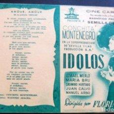 Cine: PROGRAMA DE CINE - DOBLE - IDOLOS - CON CANCIONERO - CINE CARMEN - PALAMÓS -. Lote 215606431