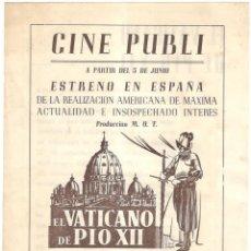 Cine: EL VATICANO DE PIO XII - CINE PUBLI - DOCUMENTAL - RKO RADIO FILMS.. Lote 215793821