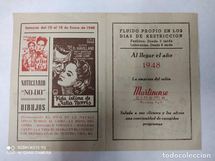 Cine: CINEMA MARTINENSE BARCELONA.SEMANA DE CINE FOLLETO.AÑO 1948.LA GITANA Y REY,AY QUE LULU.. - Foto 6 - 215829863