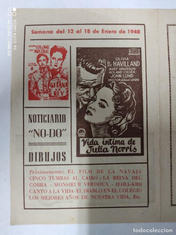Cine: CINEMA MARTINENSE BARCELONA.SEMANA DE CINE FOLLETO.AÑO 1948.LA GITANA Y REY,AY QUE LULU.. - Foto 3 - 215829863