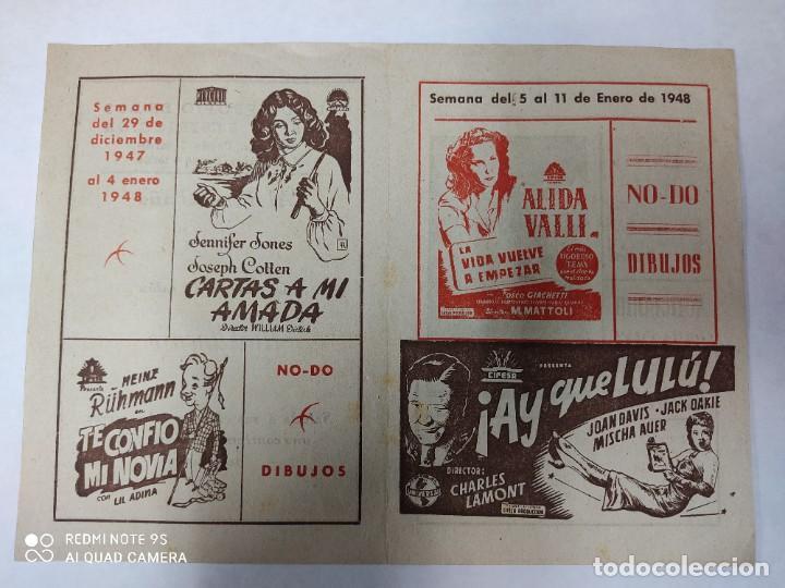 CINEMA MARTINENSE BARCELONA.SEMANA DE CINE FOLLETO.AÑO 1948.LA GITANA Y REY,AY QUE LULU.. (Cine - Folletos de Mano - Drama)