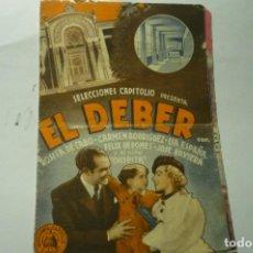 Cine: PROGTRAMA DOBLR EL DEBER.- PUBLICIDAD CALLAO --ESABA??. Lote 216518261