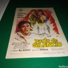Cine: ANTIGUO PROGRAMA DE CINE PACTO DE SILENCIO. CON PUBLICIDAD CINE ARGENSOLA DE BARBASTRO. Lote 216771753