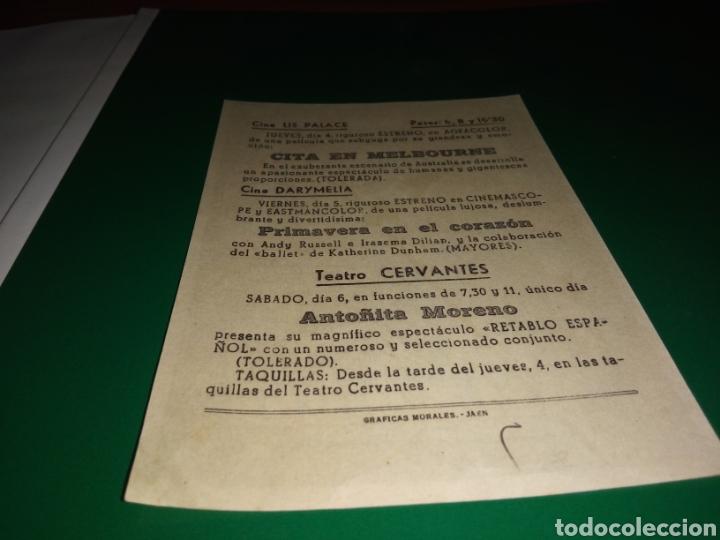 Cine: Antiguo programa de cine Cita en Melbourne. Con publicidad cine Lis Palace de Jaén - Foto 2 - 216778042