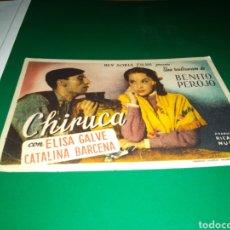 Cine: ANTIGUO PROGRAMA DE CINE SIMPLE CHIRUCA. CON PUBLICIDAD CEFERINO ROMERO LA TALAVERANA. Lote 216781781