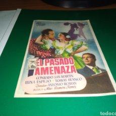 Cine: ANTIGUO PROGRAMA DE CINE SIMPLE EL PASADO AMENAZA CON PUBLICIDAD CINE DE TALAVERA. Lote 216781862