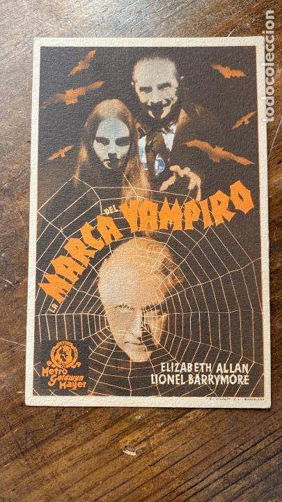 FOLLETO DE CINE LA MARCA DEL VAMPIRO CON ELIZABETH ALLAN Y LIONEL BARRYMORE 1940 METRO GOLDWYN MAYE (Cine - Folletos de Mano - Terror)