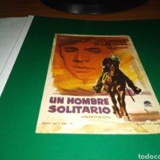 Cine: ANTIGUO PROGRAMA DE CINE SIMPLE UN HOMBRE SOLITARIO. CON PUBLICIDAD CINE ARGENSOLA DE BARBASTRO. Lote 216925952