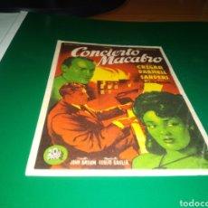 Cine: ANTIGUO PROGRAMA DE CINE SIMPLE CONCIERTO MACABRO. CON PUBLICIDAD CINE GINER DE ALCIRA (VALENCIA). Lote 216973043