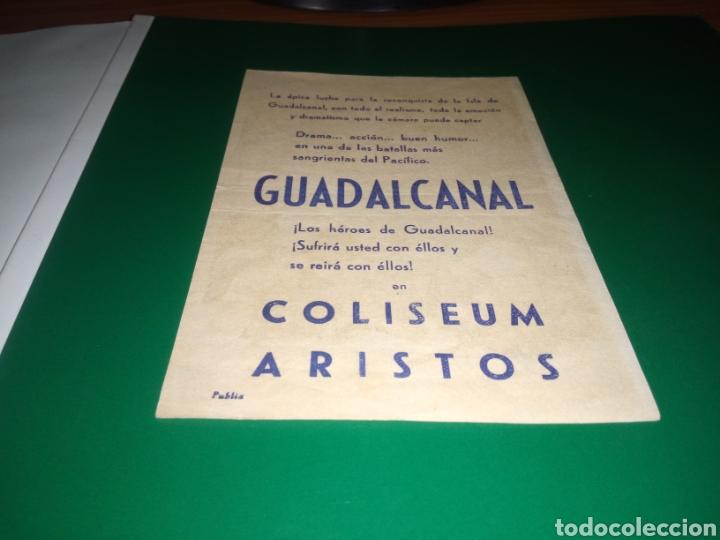 Cine: Antiguo programa de cine simple Guadalcanal. Con publicidad cine Coliseum Aristos de Barcelona - Foto 2 - 216980915