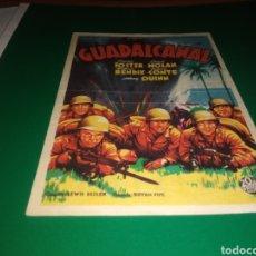 Cine: ANTIGUO PROGRAMA DE CINE SIMPLE GUADALCANAL. CON PUBLICIDAD CINE COLISEUM ARISTOS. Lote 216980915