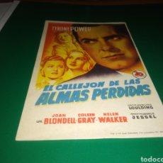 Cine: ANTIGUO PROGRAMA DE CINE SIMPLE EL CALLEJÓN DE LAS ALMAS PERDIDAS. Lote 216981647