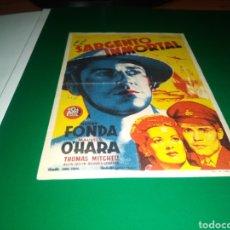 Cine: PROGRAMA DE CINE EL SARGENTO INMORTAL. CON PUBLICIDAD CINE DE VERANO LA FLORESTA DE BARBASTRO. Lote 216994162