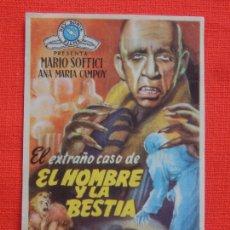 Cine: EL EXTRAÑO CASO DE EL HOMBRE Y LA BESTIA, SENCILLO,MARIO SOFFICI, CON PUBLI CINE MONUMENTAL. Lote 217021403