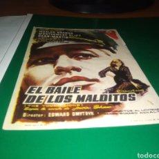 Cine: ANTIGUO PROGRAMA DE CINE SIMPLE. EL BAILE DE LOS MALDITOS. PUBLICIDAD CINE CORTÉS DE BARBASTRO.. Lote 217022727