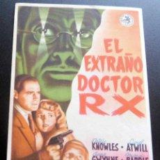 Flyers Publicitaires de films Anciens: PROGRAMA DE CINE - EL EXTRAÑO DOCTOR RX - S/P. Lote 217269827