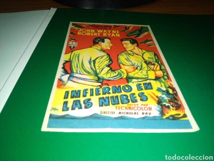 ANTIGUO PROGRAMA DE CINE SIMPLE. INFIERNO EN LAS NUBES (Cine - Folletos de Mano - Bélicas)