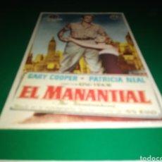 Cine: ANTIGUO PROGRAMA DE CINE SIMPLE. EL MANANTIAL. Lote 217388442