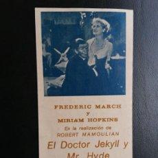Cine: EL DOCTOR JEKYLL Y MISTER HYDE, PROGRAMA CREADO E IMPRESO EN 1983. Lote 217525872
