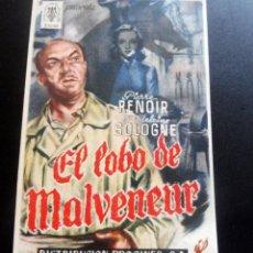 Cine: PROGRAMA DE CINE - EL LOBO DE MALVENEUR - S/P. Lote 217599965