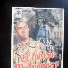 Cine: PROGRAMA DE CINE - EL LOBO DE MALVENEUR - CINE ORIENTE. Lote 217600137