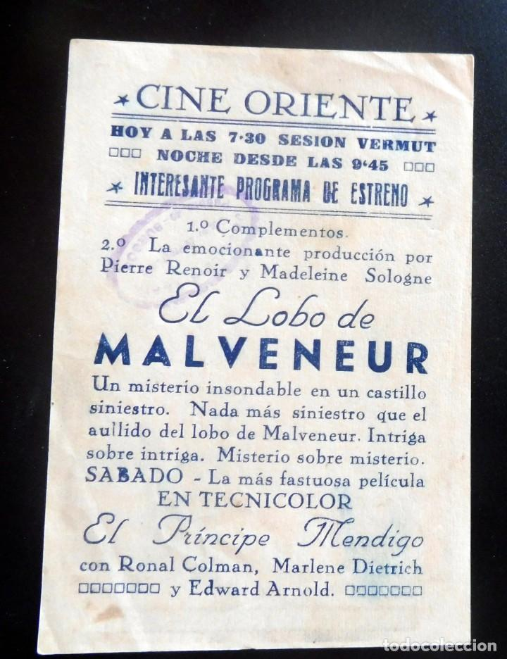 Cine: PROGRAMA DE CINE - EL LOBO DE MALVENEUR - CINE ORIENTE - Foto 2 - 217600137