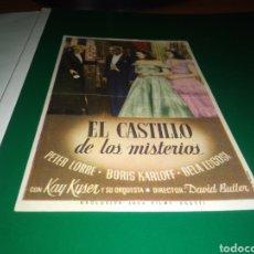 Cine: ANTIGUO PROGRAMA DE CINE SIMPLE. EL CASTILLO DE LOS MISTERIOS. Lote 217690498