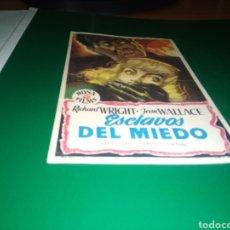 Cine: ANTIGUO PROGRAMA DE CINE SIMPLE. ESCLAVOS DEL MIEDO. Lote 217696010