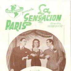 Cine: PROGRAMA DE CINE - LA SENSACION DE PARIS - CINE MISTRAL - 1939. Lote 217749387