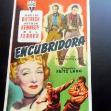 Foglietti di film di film antichi di cinema: PROGRAMA DE CINE - ENCUBRIDORA - CINE CARMEN DE PALAMÓS - 1953. Lote 217789158