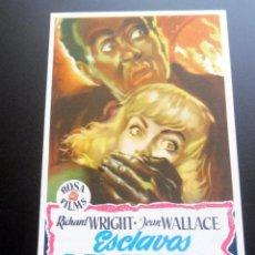 Folhetos de mão de filmes antigos de cinema: PROGRAMA DE CINE - ESCLAVOS DEL MIEDO - CINE CARMEN DE PALAMÓS. Lote 217802890