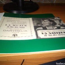 Flyers Publicitaires de films Anciens: ANTIGUO PROGRAMA DE CINE DOBLE. LA MUJER DE LAS DOS CARAS. CINE DARYMELIA DE JAÉN. Lote 217838508
