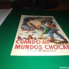 Cine: ANTIGUO PROGRAMA DE CINE SIMPLE. CUANDO LOS MUNDOS CHOCAN. Lote 217851651