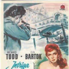 Cine: PN - PROGRAMA DE CINE - INTRIGA EN VENECIA - RICHARD TODD, EVA BARTOK - CINE PALAFOX (ZARAGOZA) 1952. Lote 297065578
