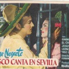 Flyers Publicitaires de films Anciens: PN - PROGRAMA DE CINE - JALISCO CANTA EN SEVILLA - JORGE NEGRETE, CARMEN SEVILLA - PRINCIPAL CINEMA. Lote 217903666