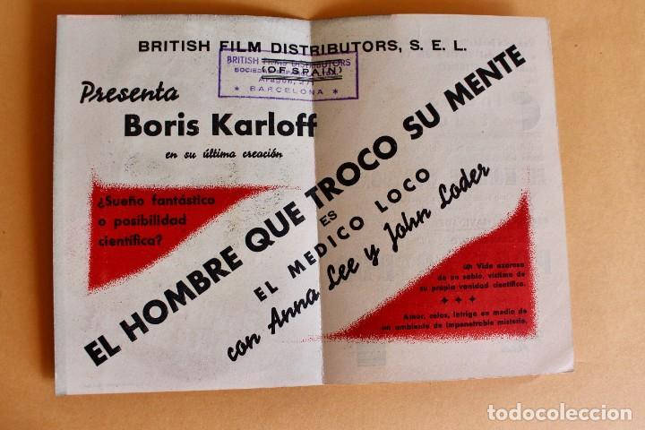 Cine: EL HOMBRE QUE TROCÓ SU MENTE, con Boris Karloff. - Foto 2 - 217909577