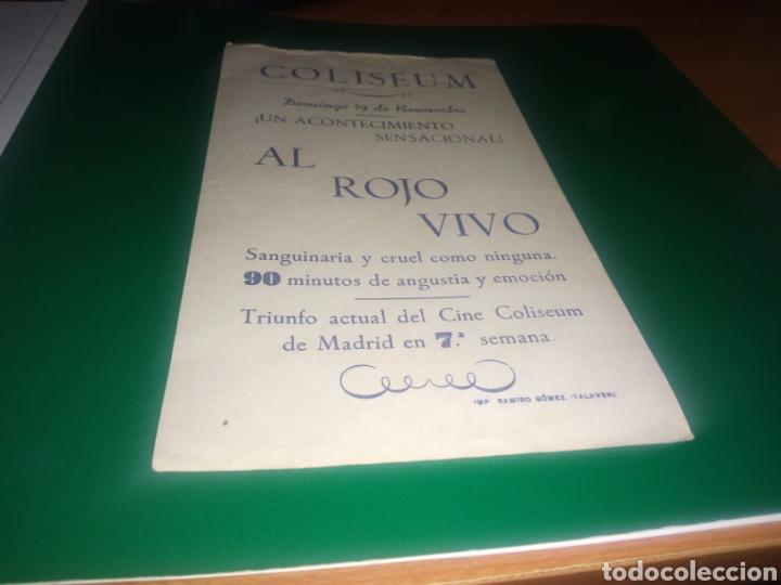 Cine: Antiguo programa de cine grande. Al rojo vivo. Cine Coliseum de TALAVERA - Foto 2 - 217940425