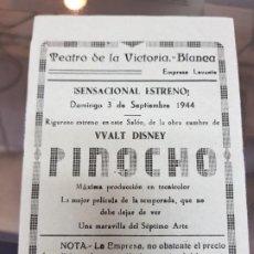 Cine: ESTRENO CINE PINOCHO WALT DISNEY TEATRO VICTORIA BLANCA MURCIA 1944. Lote 217971173