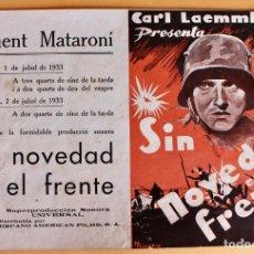 Cine: PROGRAMA DIPTICO. PELICULA SIN NOVEDAD EN EL FRENTE. CARL LAEMMLE. Lote 218007930