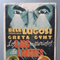 """Flyers Publicitaires de films Anciens: PROGRAMA DE MANO """" LOS OJOS MISTERIOSOS DE LONDRES"""" CON BELA LUGOSI .. Lote 218105645"""