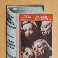 Cine: PROGRAMA DE CINE DOBLE TROQUELADO- PLAGA MORTAL -IAN KEITH - TALA BIRELL-KARL BROWN. Lote 218107528