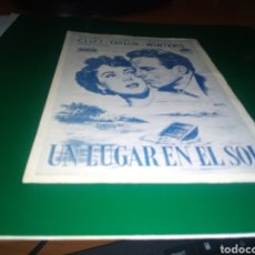 Foglietti di film di film antichi di cinema: ANTIGUO PROGRAMA DE CINE LOCAL. UN LUGAR EN EL SOL. CINE VICTORIA. IMP. MARTI. Lote 218117097