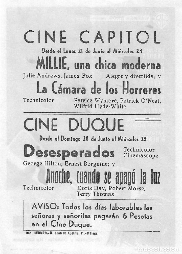Cine: PN - PROGRAMA DE CINE - LA CÁMARA DE LOS HORRORES - CESARE DANOVA - CINE CAPITOL (Málaga) - 1966. - Foto 2 - 218120640