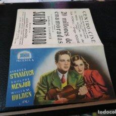 Folhetos de mão de filmes antigos de cinema: PROGRAMA DE MANO ORIG DOBLE - SUEÑO DORADO - CON CINE CENTRO IMPRESO AL DORSO. Lote 218167116